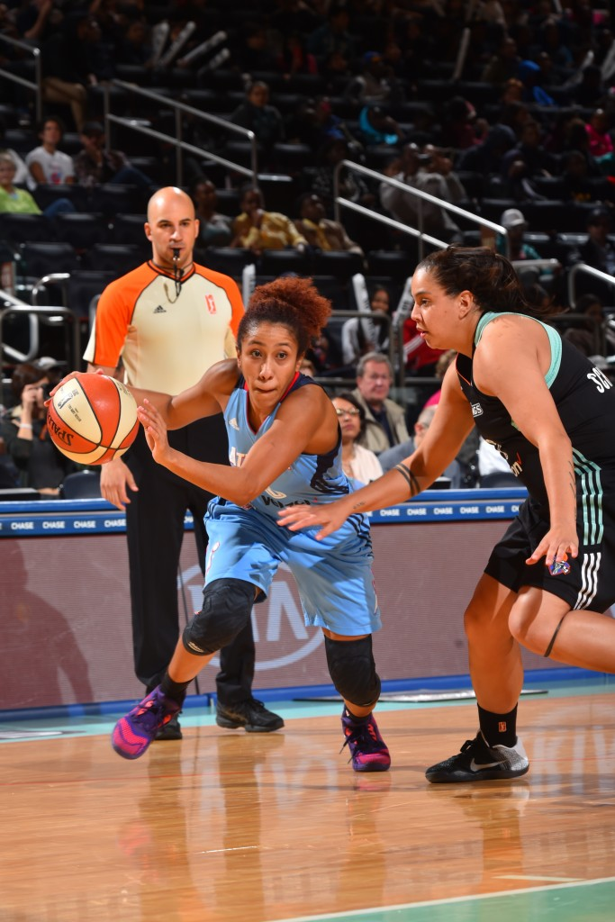 NEW YORK, NY - MAY 24: Carla Cortijo #8 of the Atlanta Dream drives to the basket against the New York Liberty on May 24, 2016 at Madison Square Garden in New York City, New York. NOTE TO USER: User expressly acknowledges and agrees that, by downloading and or using this photograph, User is consenting to the terms and conditions of the Getty Images License Agreement. Mandatory Copyright Notice: Copyright 2016 NBAE (Photo by Jesse D. Garrabrant/NBAE via Getty Images)