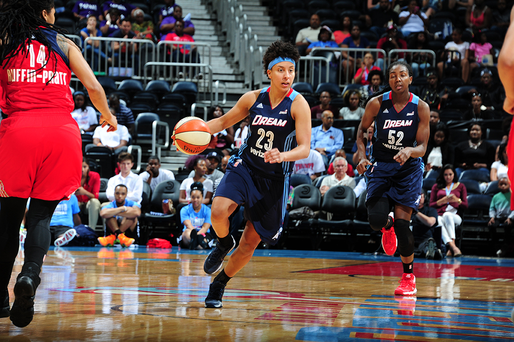 ATLANTA, GA - JUNE 5: Layshia Clarendon #23 of the Atlanta Dream handles the ball against the Washington Mystics on June 5, 2016 at Philips Arena in Atlanta, Georgia.  NOTE TO USER: User expressly acknowledges and agrees that, by downloading and/or using this Photograph, user is consenting to the terms and conditions of the Getty Images License Agreement. Mandatory Copyright Notice: Copyright 2016 NBAE (Photo by Scott Cunningham/NBAE via Getty Images)