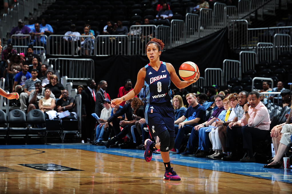 ATLANTA, GA - JUNE 5: Carla Cortijo #8 of the Atlanta Dream handles the ball against the Washington Mystics on June 5, 2016 at Philips Arena in Atlanta, Georgia.  NOTE TO USER: User expressly acknowledges and agrees that, by downloading and/or using this Photograph, user is consenting to the terms and conditions of the Getty Images License Agreement. Mandatory Copyright Notice: Copyright 2016 NBAE (Photo by Scott Cunningham/NBAE via Getty Images)