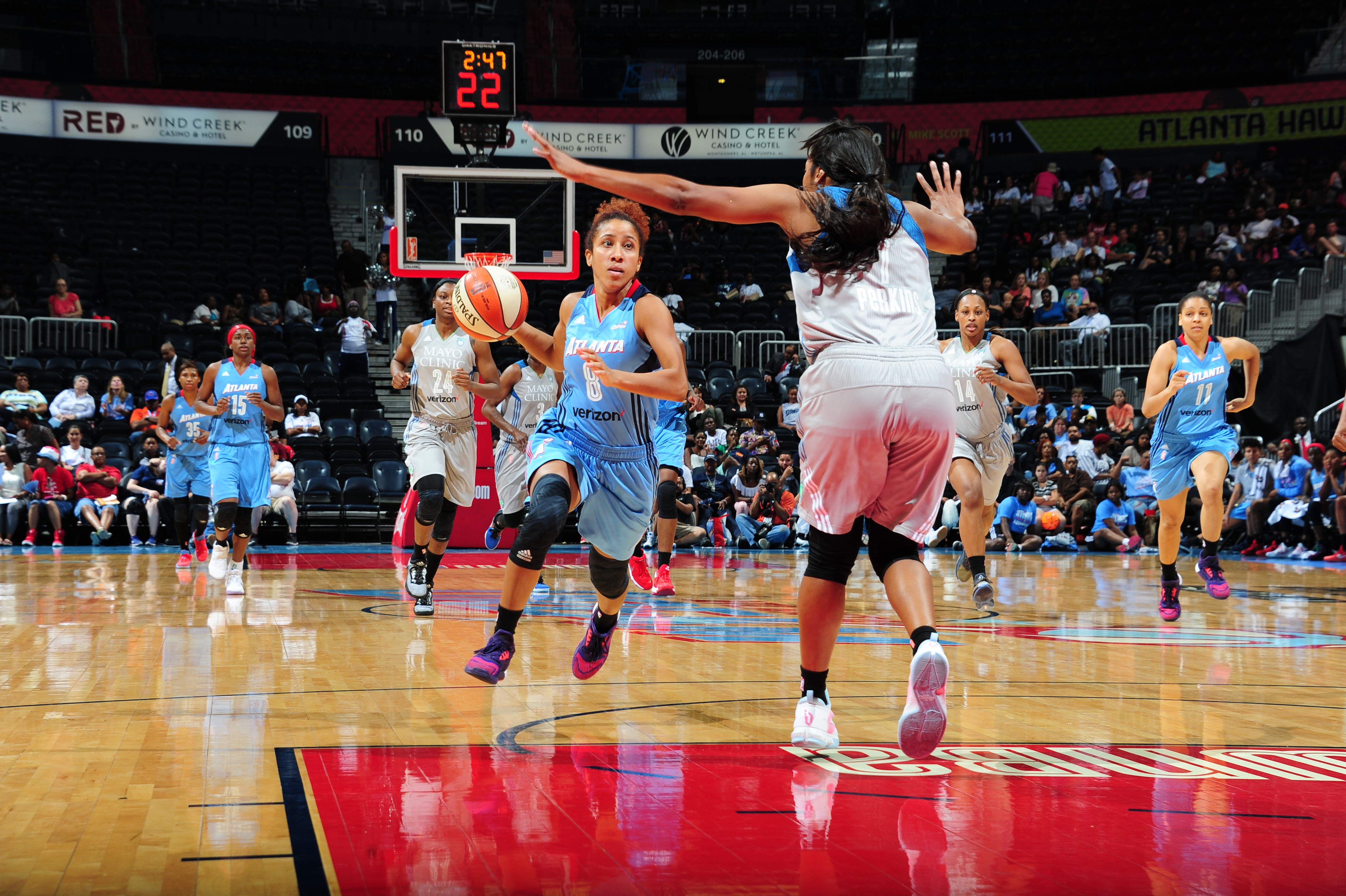 ATLANTA, GA - JUNE 10: Carla Cortijo #8 of the Atlanta Dream handles the ball against the Minnesota Lynx on June 10, 2016 at Philips Arena in Atlanta, Georgia. NOTE TO USER: User expressly acknowledges and agrees that, by downloading and/or using this Photograph, user is consenting to the terms and conditions of the Getty Images License Agreement. Mandatory Copyright Notice: Copyright 2016 NBAE (Photo by Scott Cunningham/NBAE via Getty Images)