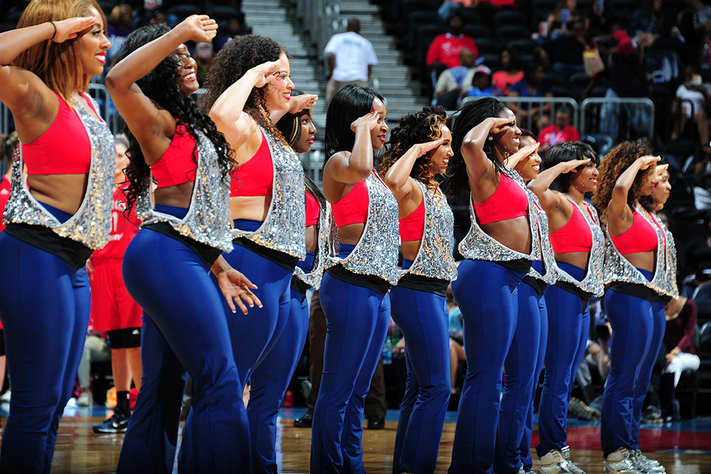 ATLANTA, GA - JUNE 5: The Atlanta Dream dance team is seen during the game against the Washington Mystics on June 5, 2016 at Philips Arena in Atlanta, Georgia.  NOTE TO USER: User expressly acknowledges and agrees that, by downloading and/or using this Photograph, user is consenting to the terms and conditions of the Getty Images License Agreement. Mandatory Copyright Notice: Copyright 2016 NBAE (Photo by Scott Cunningham/NBAE via Getty Images)