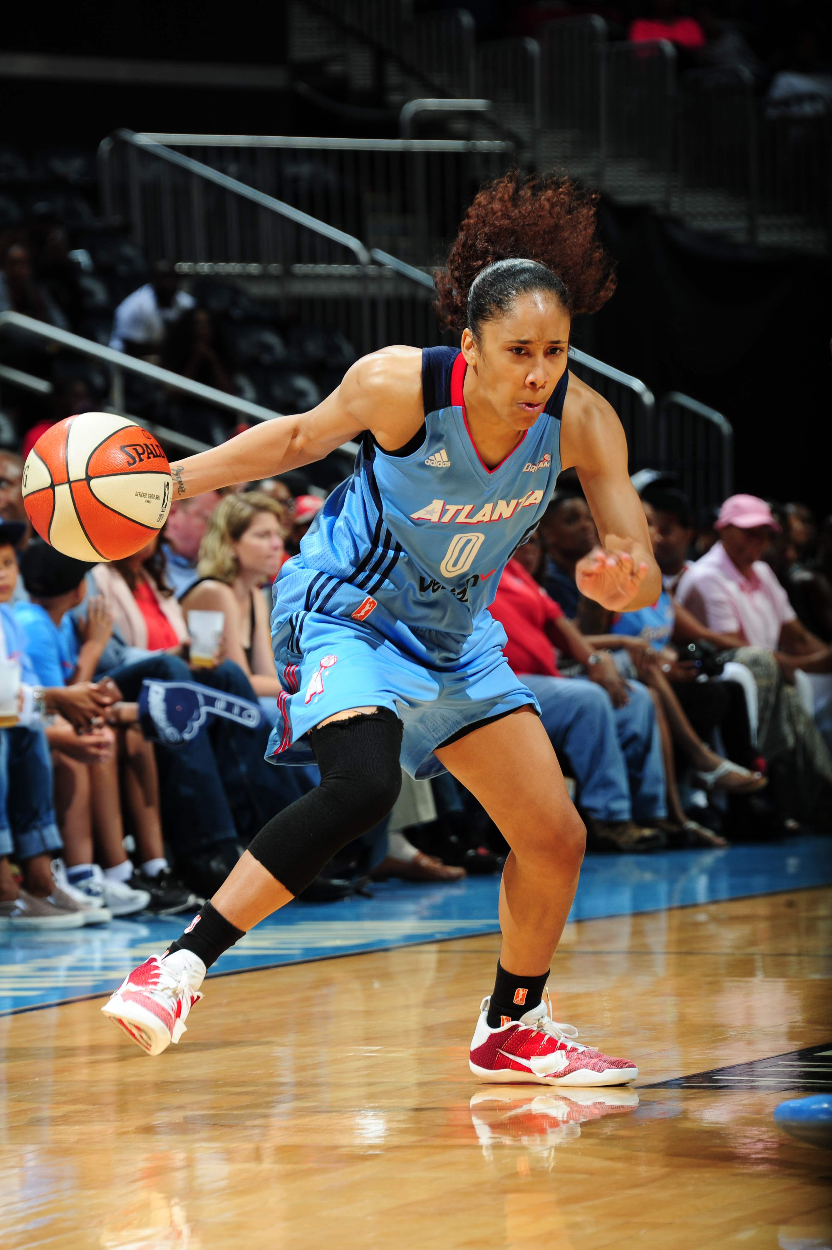 ATLANTA, GA - JUNE 17: Meighan Simmons #0 of the Atlanta Dream dribbles the ball against the Chicago Sky on June 17, 2016 at Philips Arena in Atlanta, Georgia. NOTE TO USER: User expressly acknowledges and agrees that, by downloading and/or using this Photograph, user is consenting to the terms and conditions of the Getty Images License Agreement. Mandatory Copyright Notice: Copyright 2016 NBAE (Photo by Scott Cunningham/NBAE via Getty Images)
