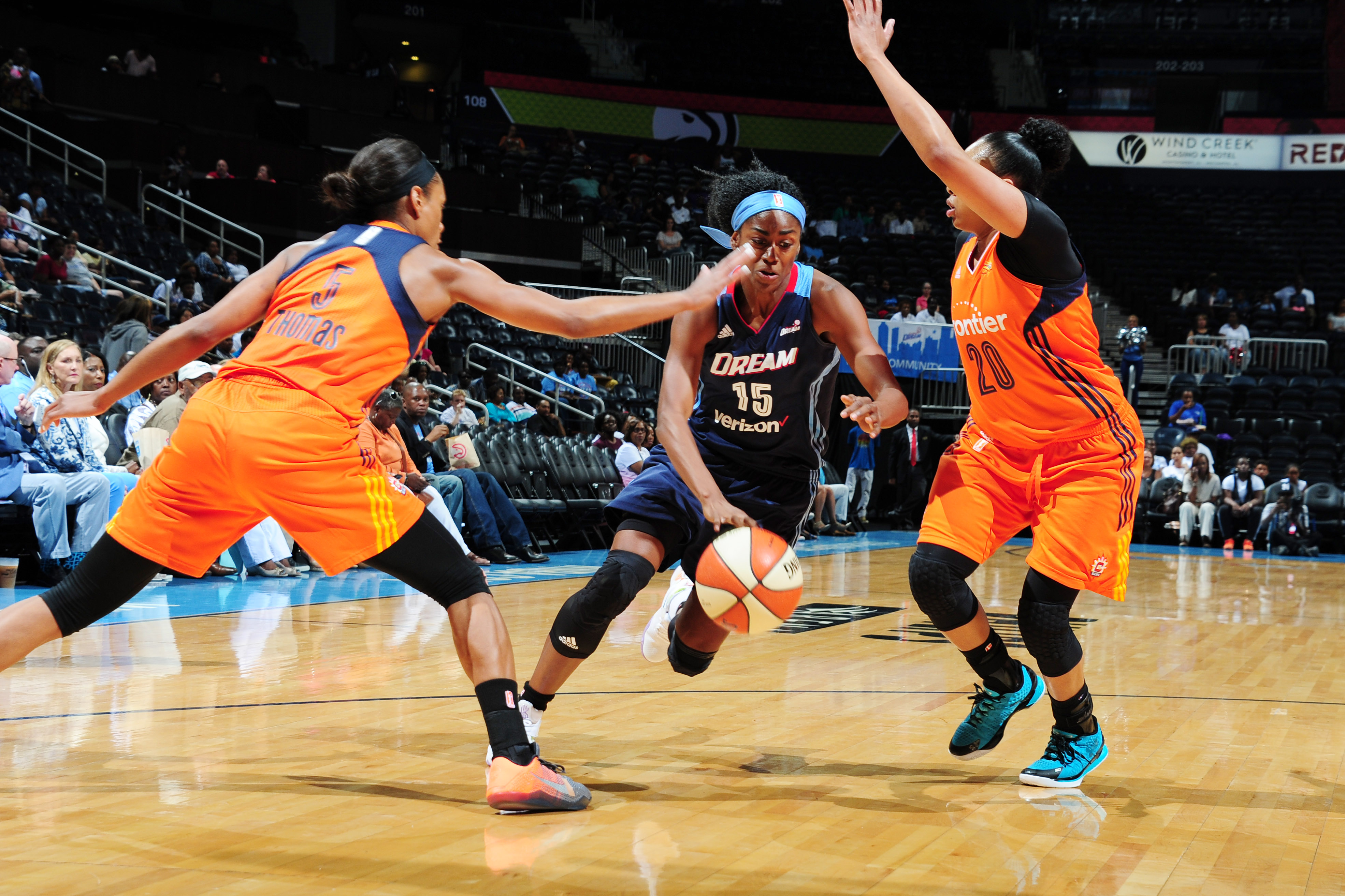 ATLANTA, GA - JUNE 12: Tiffany Hayes #15 of the Atlanta Dream drives to the basket against the Connecticut Sun during the game on June 12, 2016 at Philips Arena in Atlanta, Georgia. NOTE TO USER: User expressly acknowledges and agrees that, by downloading and or using this Photograph, user is consenting to the terms and conditions of the Getty Images License Agreement. Mandatory Copyright Notice: Copyright 2016 NBAE (Photo by Scott Cunningham/NBAE via Getty Images)
