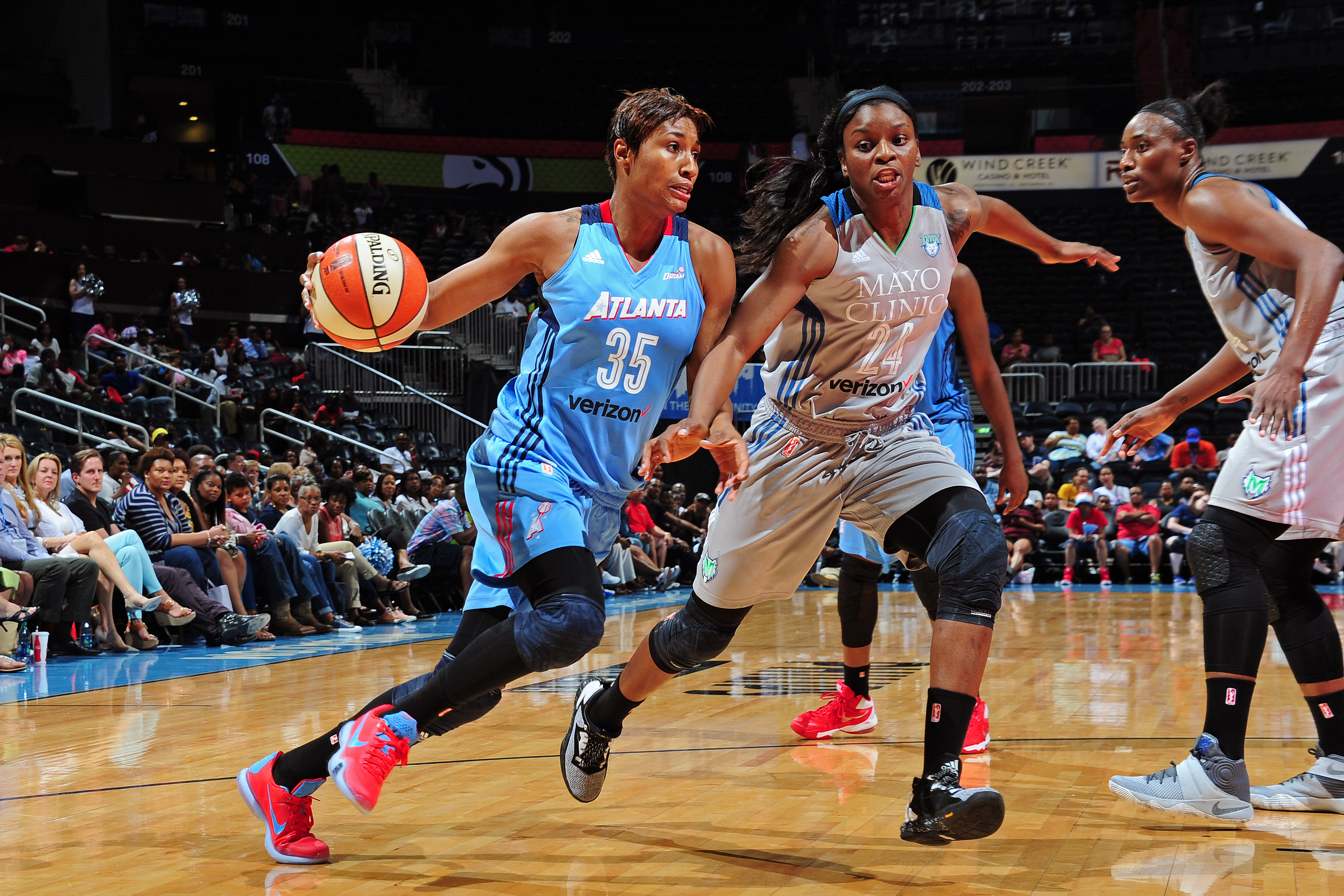 ATLANTA, GA - JUNE 10: Angel McCoughtry #35 of the Atlanta Dream drives to the basket during the game against the Minnesota Lynx during a WNBA game on June 10, 2016 at Philips Arena in Atlanta, Georgia. NOTE TO USER: User expressly acknowledges and agrees that, by downloading and/or using this Photograph, user is consenting to the terms and conditions of the Getty Images License Agreement. Mandatory Copyright Notice: Copyright 2016 NBAE (Photo by Scott Cunningham/NBAE via Getty Images)