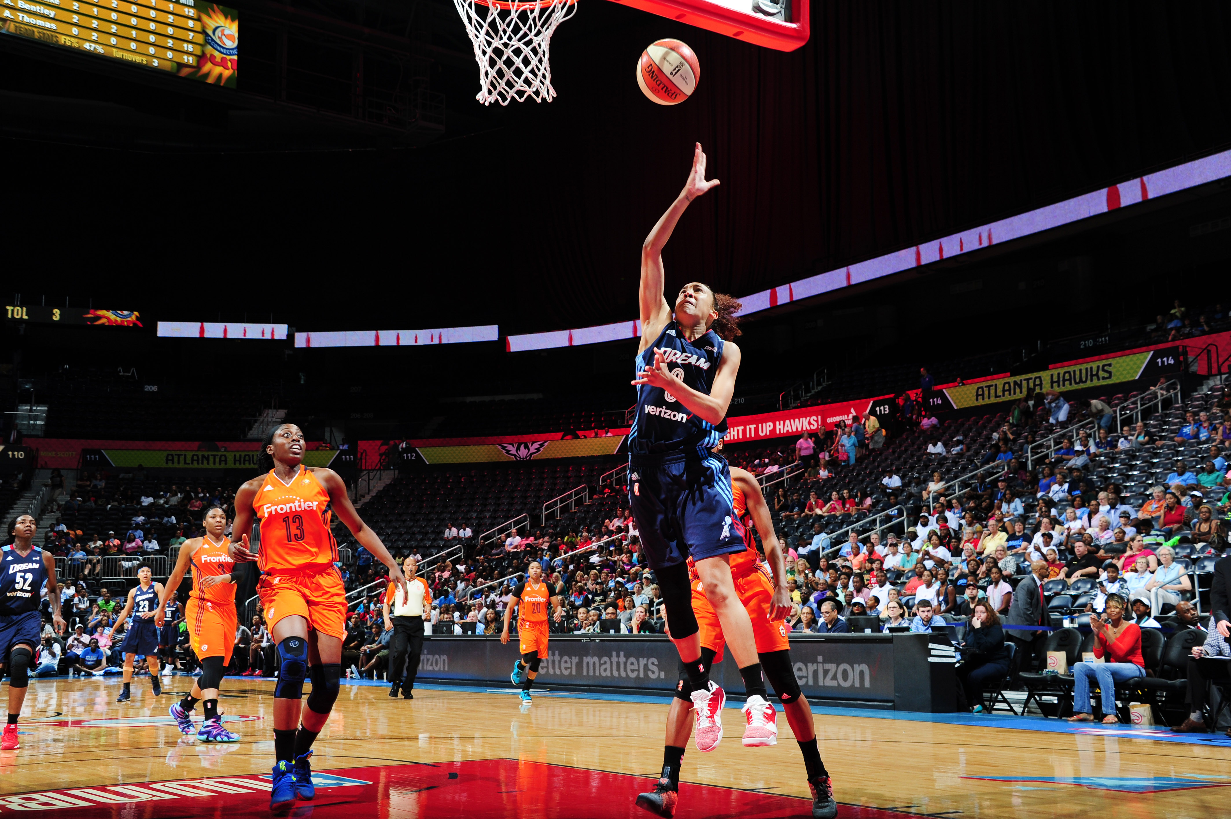 ATLANTA, GA - JUNE 12: Meighan Simmons #0 of the Atlanta Dream shoots against the Connecticut Sun during the game on June 12, 2016 at Philips Arena in Atlanta, Georgia. NOTE TO USER: User expressly acknowledges and agrees that, by downloading and or using this Photograph, user is consenting to the terms and conditions of the Getty Images License Agreement. Mandatory Copyright Notice: Copyright 2016 NBAE (Photo by Scott Cunningham/NBAE via Getty Images)