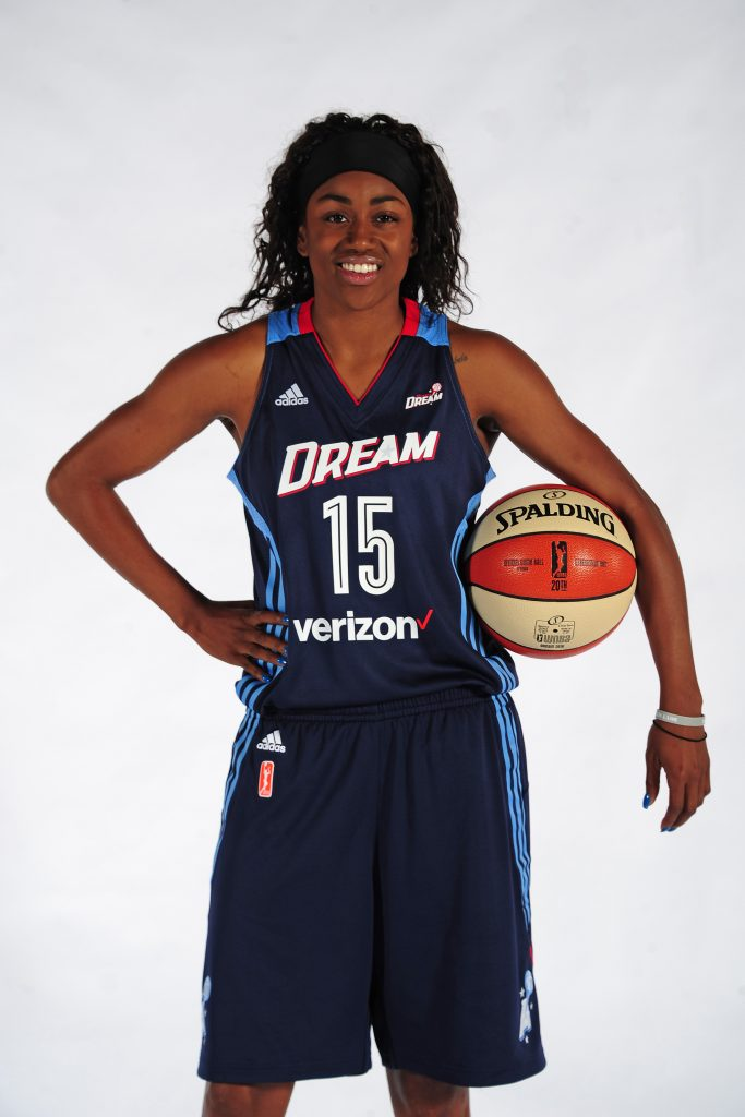 AUSTELL, GA - MAY 2: Tiffany Hayes #15 of the Atlanta Dream poses for a portrait during WNBA Media Day on May 2, 2016 at the Riverside EpiCenter in Austell, Georgia. NOTE TO USER: User expressly acknowledges and agrees that, by downloading and/or using this Photograph, user is consenting to the terms and conditions of the Getty Images License Agreement. Mandatory Copyright Notice: Copyright 2016 NBAE (Photo by Scott Cunningham/NBAE via Getty Images)