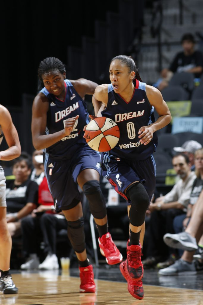 SAN ANTONIO, TX - MAY 14: Meighan Simmons #0 of the Atlanta Dream runs up court against the San Antonio Stars during the game on May 14, 2016 at AT&T Center in San Antonio, Texas. NOTE TO USER: User expressly acknowledges and agrees that, by downloading and or using this Photograph, user is consenting to the terms and conditions of the Getty Images License Agreement. Mandatory Copyright Notice: Copyright 2016 NBAE (Photo by Chris Covatta/NBAE via Getty Images)