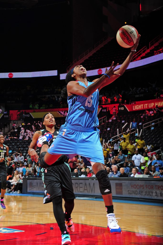 ATLANTA, GA - JUNE 22: Tiffany Hayes #15 of the Atlanta Dream drives to the basket against the New York Liberty during a WNBA game on June 22, 2016 at Philips Arena in Atlanta, Georgia. NOTE TO USER: User expressly acknowledges and agrees that, by downloading and/or using this Photograph, user is consenting to the terms and conditions of the Getty Images License Agreement. Mandatory Copyright Notice: Copyright 2016 NBAE (Photo by Scott Cunningham/NBAE via Getty Images)