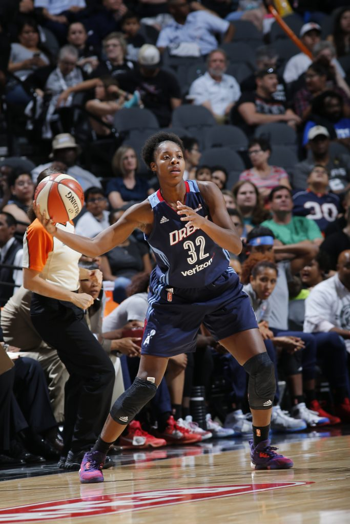 SAN ANTONIO, TX - JUNE 25: Bria Holmes #32 of the Atlanta Dream handles the ball against the San Antonio Stars on June 25, 2016 at the AT&T Center in San Antonio, Texas. NOTE TO USER: User expressly acknowledges and agrees that, by downloading and or using this photograph, user is consenting to the terms and conditions of the Getty Images License Agreement. Mandatory Copyright Notice: Copyright 2016 NBAE (Photos by Chris Covatta/NBAE via Getty Images)