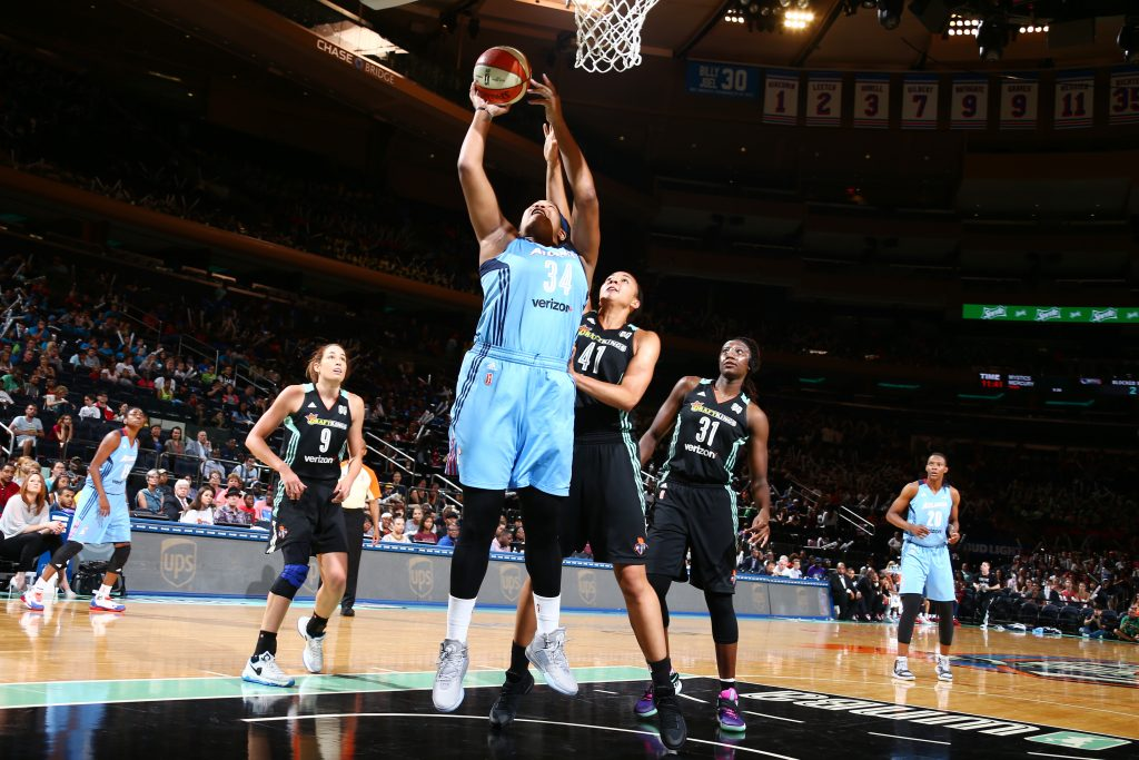 NEW YORK, NY - JULY 13: Markeisha Gatling #34 of the Atlanta Dream shoots the ball against the New York Liberty on July 13, 2016 at Madison Square Garden in New York, New York. NOTE TO USER: User expressly acknowledges and agrees that, by downloading and or using this photograph, User is consenting to the terms and conditions of the Getty Images License Agreement. Mandatory Copyright Notice: Copyright 2016 NBAE (Photo by Nathaniel S. Butler/NBAE via Getty Images)