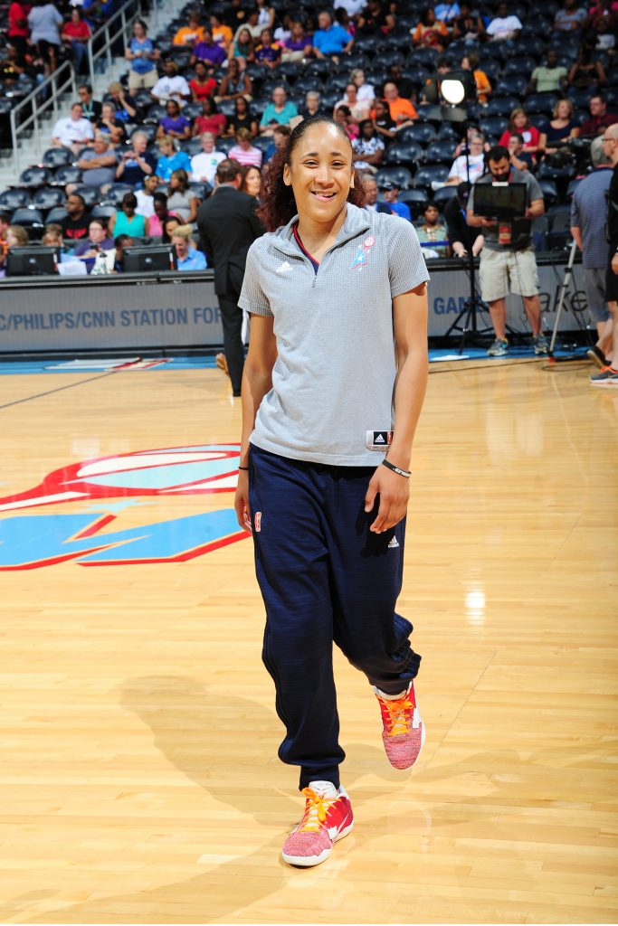 ATLANTA, GA - JULY 17: Meighan Simmons #0 of the Atlanta Dream is seen before the game against the Los Angeles Sparks on July 17, 2016 at Philips Arena in Atlanta, Georgia. NOTE TO USER: User expressly acknowledges and agrees that, by downloading and/or using this Photograph, user is consenting to the terms and conditions of the Getty Images License Agreement. Mandatory Copyright Notice: Copyright 2016 NBAE (Photo by Scott Cunningham/NBAE via Getty Images)