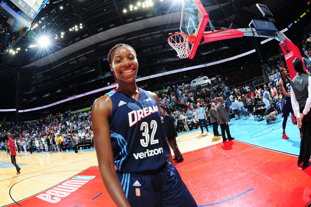 ATLANTA, GA - JULY 17: Bria Holmes #32 of the Atlanta Dream is seen during the game against the Los Angeles Sparks on July 17, 2016 at Philips Arena in Atlanta, Georgia. NOTE TO USER: User expressly acknowledges and agrees that, by downloading and/or using this Photograph, user is consenting to the terms and conditions of the Getty Images License Agreement. Mandatory Copyright Notice: Copyright 2016 NBAE (Photo by Scott Cunningham/NBAE via Getty Images)