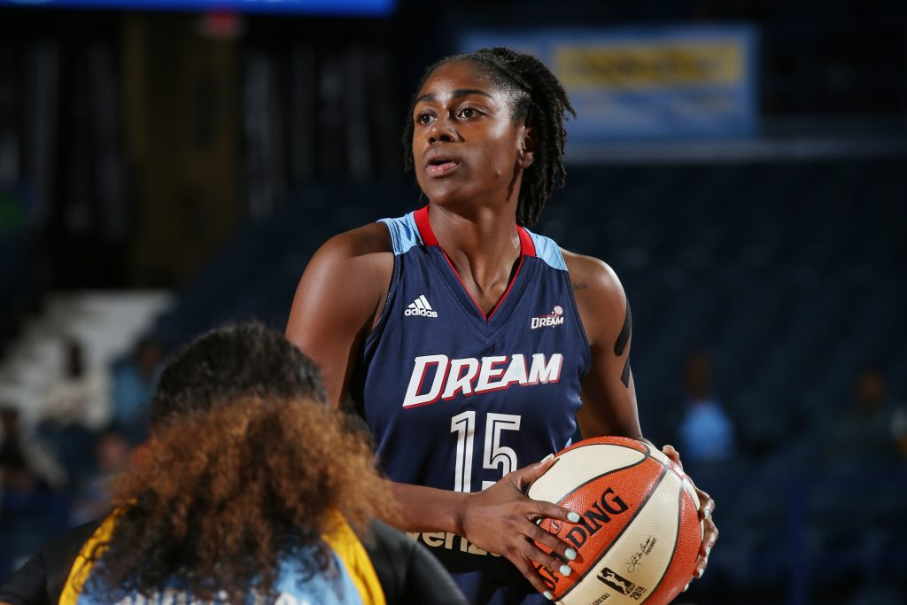 ROSEMONT, IL - SEPTEMBER 25: Tiffany Hayes #15 of the Atlanta Dream handles the ball against the Chicago Sky during Round Two of the 2016 WNBA Playoffs on September 25, 2016 at Allstate Arena in Rosemont, IL. NOTE TO USER: User expressly acknowledges and agrees that, by downloading and or using this photograph, User is consenting to the terms and conditions of the Getty Images License Agreement. Mandatory Copyright Notice: Copyright 2016 NBAE (Photo by Gary Dineen/NBAE via Getty Images)