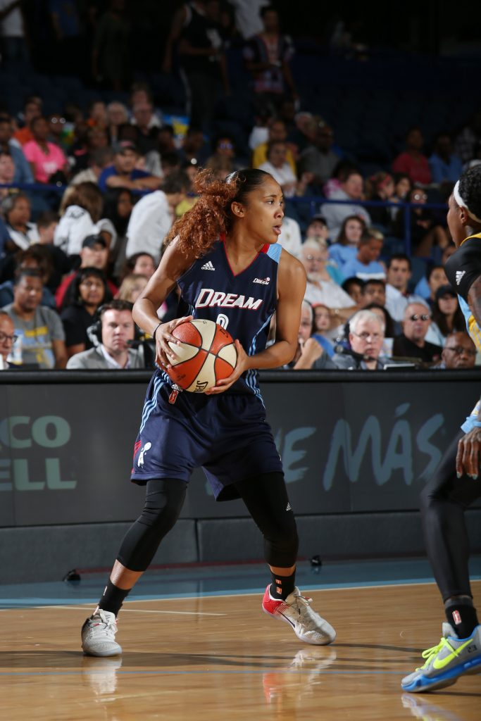 ROSEMONT, IL - SEPTEMBER 25: Meighan Simmons #0 of the Atlanta Dream handles the ball against the Chicago Sky during Round Two of the 2016 WNBA Playoffs on September 25, 2016 at Allstate Arena in Rosemont, IL. NOTE TO USER: User expressly acknowledges and agrees that, by downloading and or using this photograph, User is consenting to the terms and conditions of the Getty Images License Agreement. Mandatory Copyright Notice: Copyright 2016 NBAE (Photo by Gary Dineen/NBAE via Getty Images)