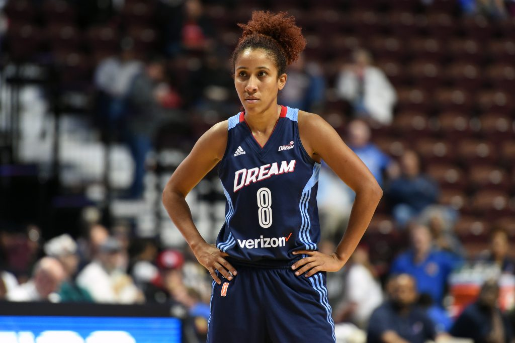 UNCASVILLE, CT - MAY 4: Carla Cortijo #8 of the Atlanta Dream during the game against the San Antonio Stars on May 4, 2016 at the Mohegan Sun in Uncasville, Connecticut. NOTE TO USER: User expressly acknowledges and agrees that, by downloading and or using this photograph, User is consenting to the terms and conditions of the Getty Images License Agreement. Mandatory Copyright Notice: Copyright 2016 NBAE (Photo by Brian Babineau/NBAE via Getty Images)