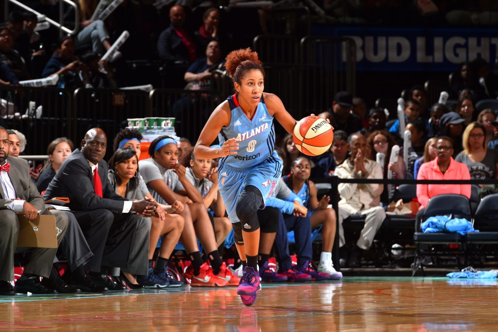 NEW YORK, NY - MAY 24: Carla Cortijo #8 of the Atlanta Dream handles the ball during the game against the New York Liberty on May 24, 2016 at Madison Square Garden in New York City, New York. NOTE TO USER: User expressly acknowledges and agrees that, by downloading and or using this photograph, User is consenting to the terms and conditions of the Getty Images License Agreement. Mandatory Copyright Notice: Copyright 2016 NBAE (Photo by Jesse D. Garrabrant/NBAE via Getty Images)