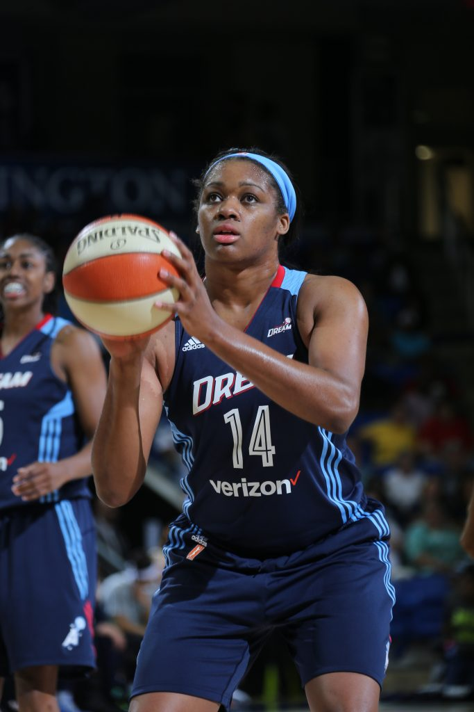 ARLINGTON, TX - MAY 27: Rachel Hollivay #14 of the Atlanta Dream shoots a free throw against the Dallas Wings on May 27, 2016 at College Park Center in Arlington, Texas. NOTE TO USER: User expressly acknowledges and agrees that, by downloading and or using this photograph, user is consenting to the terms and conditions of the Getty Images License Agreement. Mandatory Copyright Notice: Copyright 2016 NBAE (Photos by Layne Murdoch/NBAE via Getty Images)