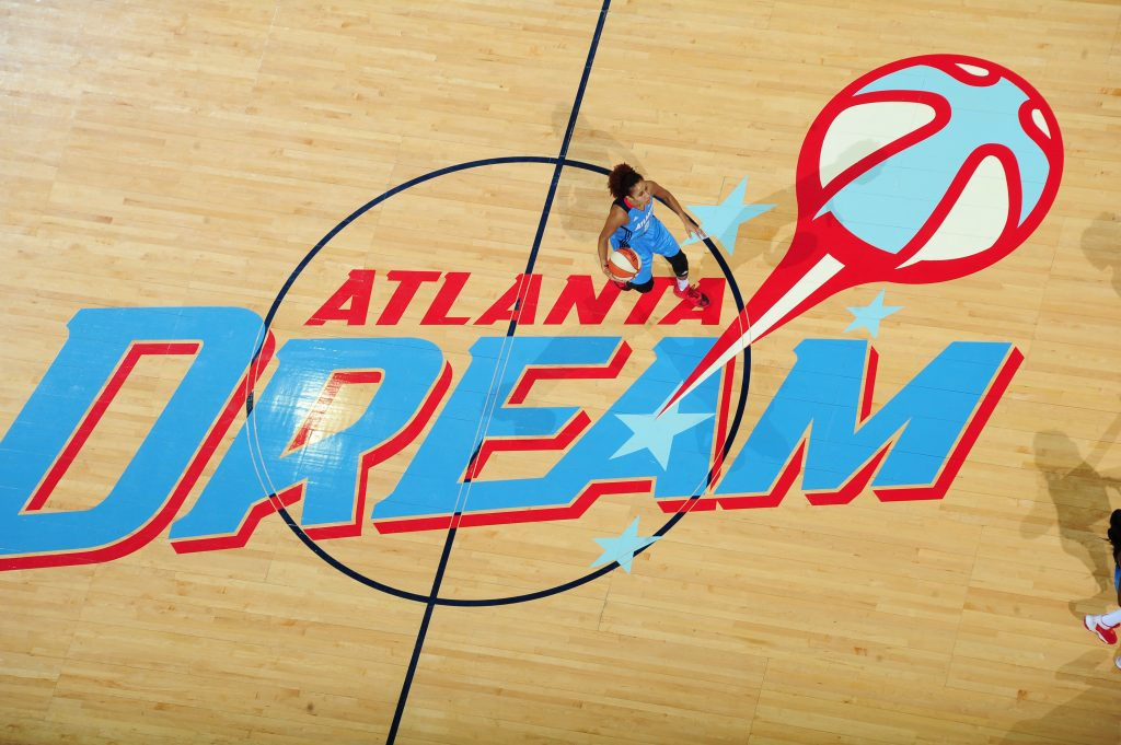 ATLANTA, GA - JULY 5: Carla Cortijo #8 of the Atlanta Dream brings the ball up court against the Seattle Storm on July 5, 2016 at Philips Arena in Atlanta, Georgia. NOTE TO USER: User expressly acknowledges and agrees that, by downloading and/or using this Photograph, user is consenting to the terms and conditions of the Getty Images License Agreement. Mandatory Copyright Notice: Copyright 2016 NBAE (Photo by Scott Cunningham/NBAE via Getty Images)