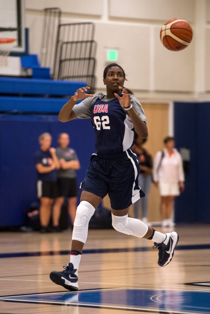 LOS ANGELES, CA - JULY 23: Elizabeth Williams of the USA Womens Select Team drives to the basket during practice at Windward High School in Los Angeles, California on July 23, 2016. NOTE TO USER: User expressly acknowledges and agrees that, by downloading and/or using this Photograph, user is consenting to the terms and conditions of the Getty Images License Agreement. Mandatory Copyright Notice: Copyright 2016 NBAE (Photo by Blaine Ohigashi/NBAE/Getty Images)
