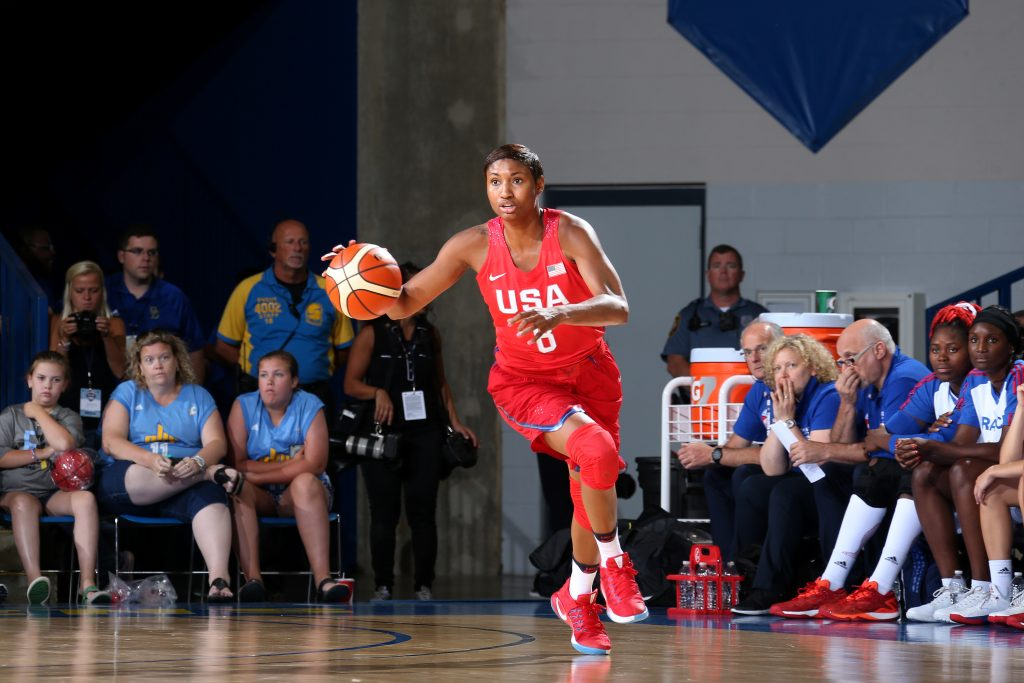 NEWARK, DE - JULY 27: Angel McCoughtry #8 of USA Basketball Women's National Team brings the ball up court during the game against France during the USA Basketball Showcase on July 27, 2016 at Bob Carpenter Center in Newark, Delaware. NOTE TO USER: User expressly acknowledges and agrees that, by downloading and/or using this Photograph, user is consenting to the terms and conditions of the Getty Images License Agreement. Mandatory Copyright Notice: Copyright 2016 NBAE (Photo by Nathaniel S. Butler/NBAE via Getty Images)