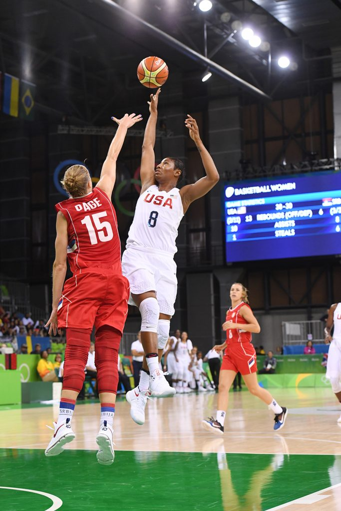 RIO DE JANEIRO, BRAZIL - AUGUST 10: Angel McCoughtry #8 of the USA Basketball Women's National Team shoots the ball against Danielle Page #15 of Serbia on Day 5 of the Rio 2016 Olympic Games at Deodoro Youth Arena on August 10, 2016 in Rio de Janeiro, Brazil. NOTE TO USER: User expressly acknowledges and agrees that, by downloading and/or using this Photograph, user is consenting to the terms and conditions of the Getty Images License Agreement. Mandatory Copyright Notice: Copyright 2016 NBAE (Photo by Garrett Ellwood/NBAE via Getty Images)