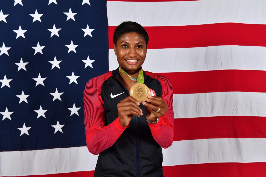 RIO DE JANEIRO - AUGUST 20: Angel McCoughtry #8 of the USA Basketball Women's National Team poses after winning the Gold Medal at the Rio 2016 Olympic games on August 20, 2016. NOTE TO USER: User expressly acknowledges and agrees that, by downloading and/or using this Photograph, user is consenting to the terms and conditions of the Getty Images License Agreement. Mandatory Copyright Notice: Copyright 2016 NBAE (Photo by Jesse D. Garrabrant/NBAE via Getty Images)