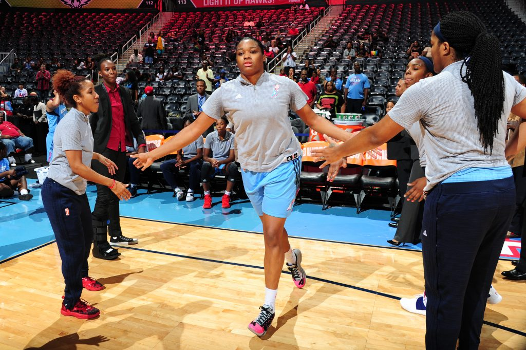 ATLANTA, GA - SEPTEMBER 13: Rachel Hollivay #14 of the Atlanta Dream is introduced before the game against the San Antonio Stars on September 13, 2016 at Philips Arena in Atlanta, Georgia. NOTE TO USER: User expressly acknowledges and agrees that, by downloading and/or using this Photograph, user is consenting to the terms and conditions of the Getty Images License Agreement. Mandatory Copyright Notice: Copyright 2016 NBAE (Photo by Scott Cunningham/NBAE via Getty Images)