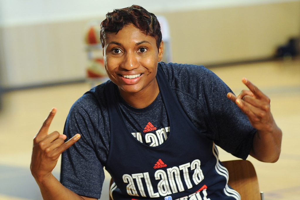 AUSTELL, GA - SEPTEMBER 14: Angel McCoughtry #35 of the Atlanta Dream smiles for an interview after an open practice on September 14, 2016 in Austell, Georgia at the Riverside Epi Center. NOTE TO USER: User expressly acknowledges and agrees that, by downloading and or using this photograph, User is consenting to the terms and conditions of the Getty Images License Agreement. Mandatory Copyright Notice: Copyright 2016 NBAE (Photo by Becky Stein/NBAE via Getty Images)