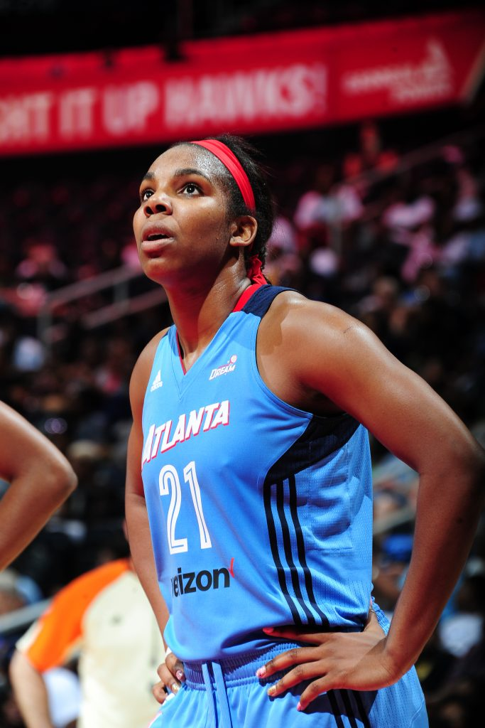 ATLANTA, GA - JUNE 10: Reshanda Gray #21 of the Atlanta Dream reacts to a play against the Minnesota Lynx on June 10, 2016 at Philips Arena in Atlanta, Georgia. NOTE TO USER: User expressly acknowledges and agrees that, by downloading and/or using this Photograph, user is consenting to the terms and conditions of the Getty Images License Agreement. Mandatory Copyright Notice: Copyright 2016 NBAE (Photo by Scott Cunningham/NBAE via Getty Images)