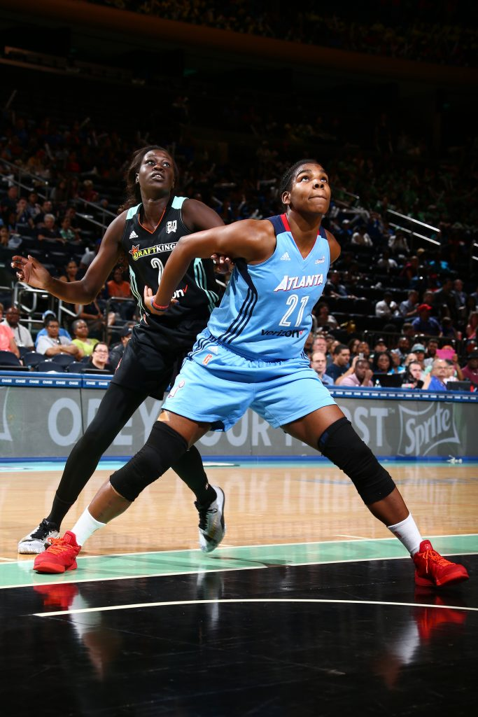 NEW YORK, NY - JULY 13: Reshanda Gray #21 of the Atlanta Dream fights for position against Adut Bulgak #2 of the New York Liberty on July 13, 2016 at Madison Square Garden in New York, New York. NOTE TO USER: User expressly acknowledges and agrees that, by downloading and or using this photograph, User is consenting to the terms and conditions of the Getty Images License Agreement. Mandatory Copyright Notice: Copyright 2016 NBAE (Photo by Nathaniel S. Butler/NBAE via Getty Images)