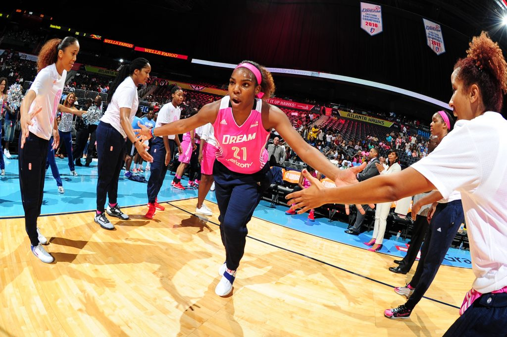 ATLANTA, GA - AUGUST 28: Reshanda Gray #21 of the Atlanta Dream is introduced before the game against the Connecticut Sun on August 28, 2016 at Philips Arena in Atlanta, Georgia. NOTE TO USER: User expressly acknowledges and agrees that, by downloading and/or using this Photograph, user is consenting to the terms and conditions of the Getty Images License Agreement. Mandatory Copyright Notice: Copyright 2016 NBAE (Photo by Scott Cunningham/NBAE via Getty Images)