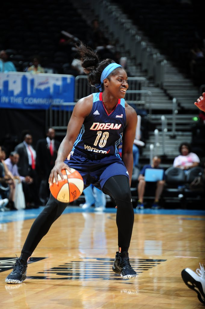 ATLANTA, GA - SEPTEMBER 15: Matee Ajavon #10 of the Atlanta Dream handles the ball against the Washington Mystics on September 15, 2016 at Philips Arena in Atlanta, Georgia. NOTE TO USER: User expressly acknowledges and agrees that, by downloading and/or using this Photograph, user is consenting to the terms and conditions of the Getty Images License Agreement. Mandatory Copyright Notice: Copyright 2016 NBAE (Photo by Scott Cunningham/NBAE via Getty Images)