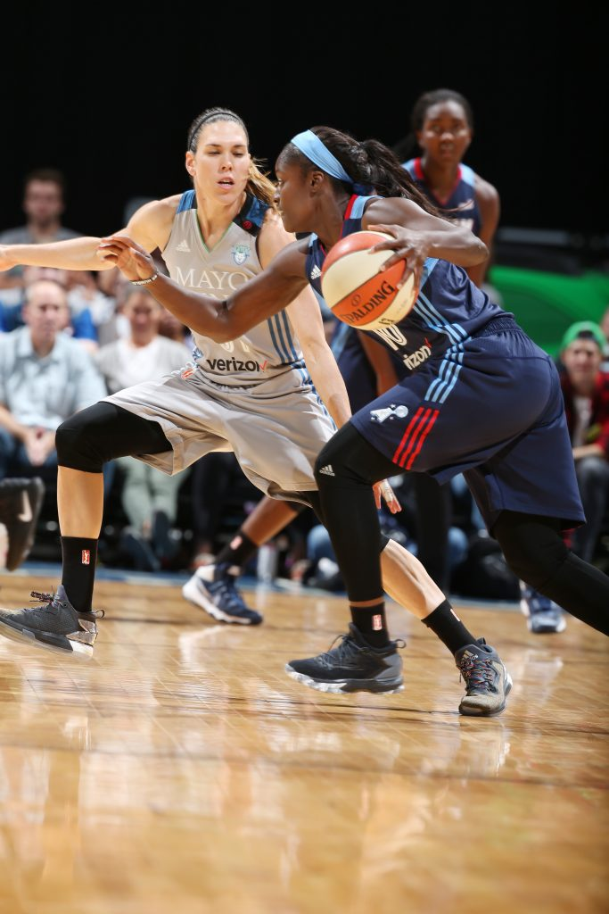 MINNEAPOLIS, MN - SEPTEMBER 17: Matee Ajavon #10 of the Atlanta Dream drives to the basket against Anna Cruz #51 of the Minnesota Lynx on September 17, 2016 at Target Center in Minneapolis, Minnesota. NOTE TO USER: User expressly acknowledges and agrees that, by downloading and or using this Photograph, user is consenting to the terms and conditions of the Getty Images License Agreement. Mandatory Copyright Notice: Copyright 2016 NBAE (Photo by David Sherman/NBAE via Getty Images)