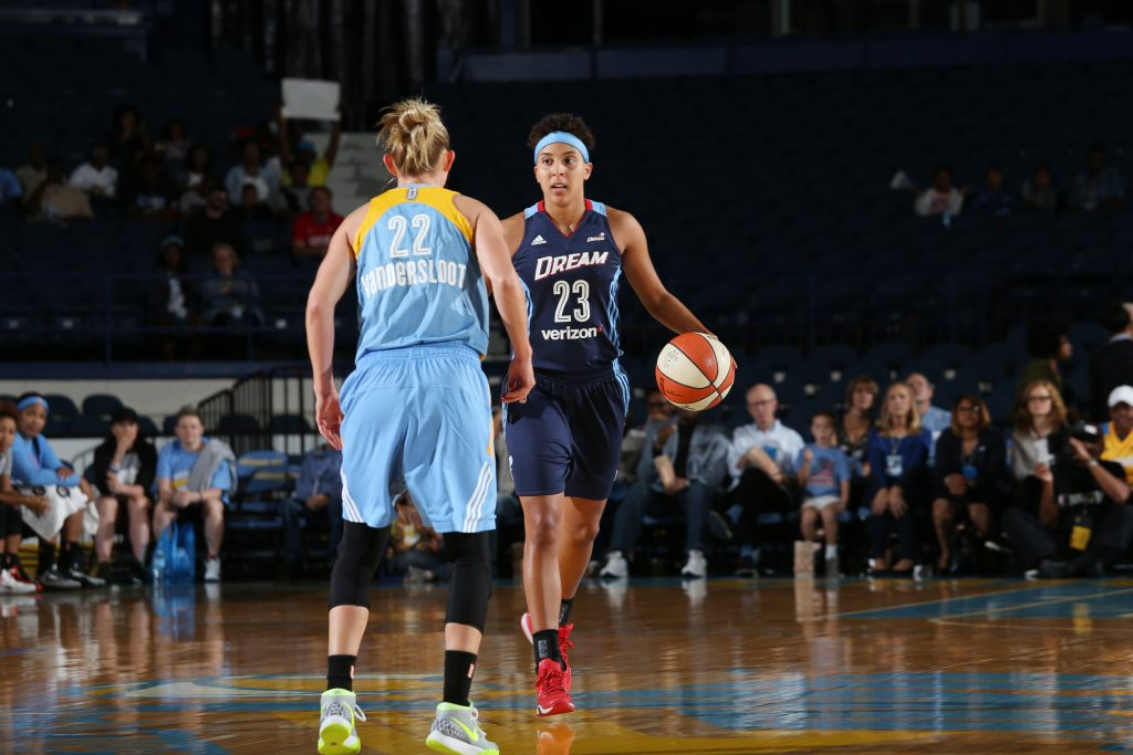 ROSEMONT, IL - SEPTEMBER 25: Layshia Clarendon #23 of the Atlanta Dream brings the ball up court against the Chicago Sky during Round Two of the 2016 WNBA Playoffs on September 25, 2016 at Allstate Arena in Rosemont, IL. NOTE TO USER: User expressly acknowledges and agrees that, by downloading and or using this photograph, User is consenting to the terms and conditions of the Getty Images License Agreement. Mandatory Copyright Notice: Copyright 2016 NBAE (Photo by Gary Dineen/NBAE via Getty Images)