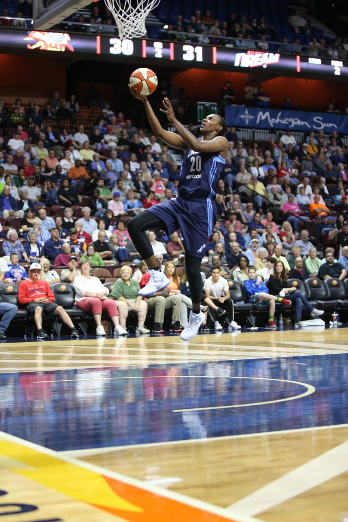 UNCASVILLE, CT - JUNE 3: Sancho Lyttle #20 of the Atlanta Dream goes for the layup against the Connecticut Sun on June 3, 2016 at Mohegan Sun Arena in Uncasville, CT. NOTE TO USER: User expressly acknowledges and agrees that, by downloading and or using this Photograph, user is consenting to the terms and conditions of the Getty Images License Agreement. Mandatory Copyright Notice: Copyright 2016 NBAE (Photo by Chris Marion/NBAE via Getty Images)