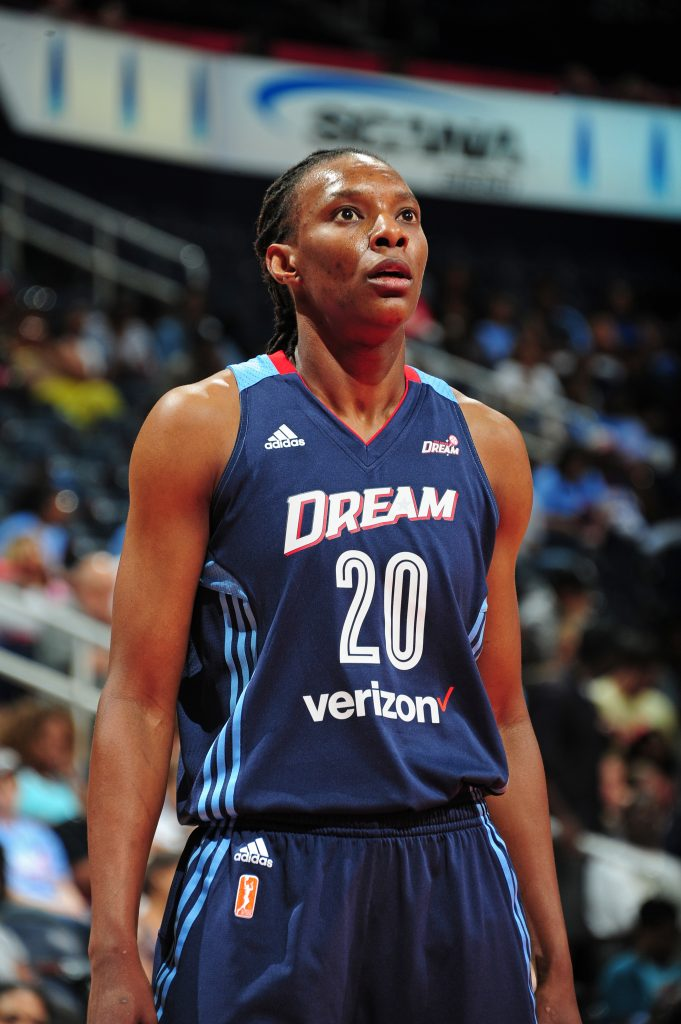 ATLANTA, GA - MAY 21: Sancho Lyttle #20 of the Atlanta Dream looks on during the WNBA game against the Chicago Sky on May 22, 2016 at Philips Arena in Atlanta, Georgia. NOTE TO USER: User expressly acknowledges and agrees that, by downloading and/or using this Photograph, user is consenting to the terms and conditions of the Getty Images License Agreement. Mandatory Copyright Notice: Copyright 2016 NBAE (Photo by Scott Cunningham/NBAE via Getty Images)
