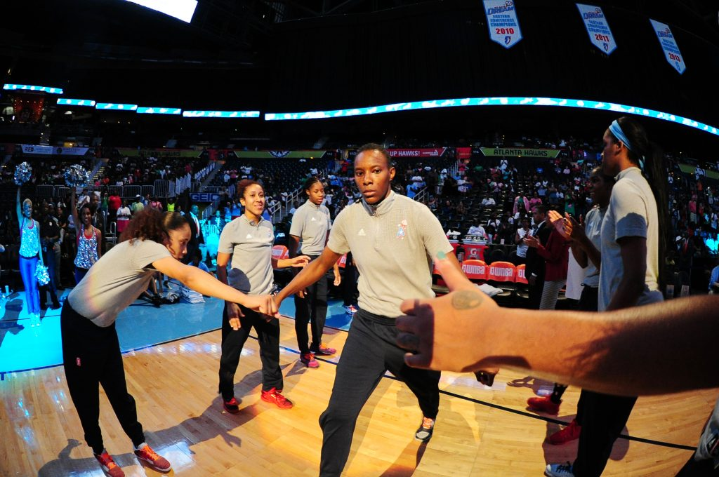 ATLANTA, GA - JULY 8: Sancho Lyttle #20 of the Atlanta Dream gets introduced before the game against the Dallas Wings on July 8, 2016 at Philips Arena in Atlanta, Georgia. NOTE TO USER: User expressly acknowledges and agrees that, by downloading and/or using this Photograph, user is consenting to the terms and conditions of the Getty Images License Agreement. Mandatory Copyright Notice: Copyright 2016 NBAE (Photo by Scott Cunningham/NBAE via Getty Images)