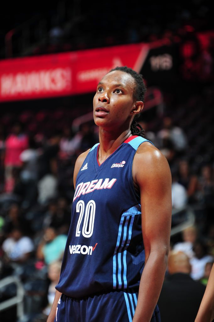ATLANTA, GA - JULY 8: Sancho Lyttle #20 of the Atlanta Dream reacts to a play against the Dallas Wings on July 8, 2016 at Philips Arena in Atlanta, Georgia. NOTE TO USER: User expressly acknowledges and agrees that, by downloading and/or using this Photograph, user is consenting to the terms and conditions of the Getty Images License Agreement. Mandatory Copyright Notice: Copyright 2016 NBAE (Photo by Scott Cunningham/NBAE via Getty Images)